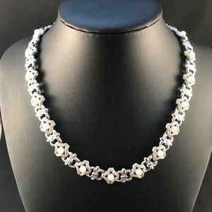 Vintage Trifari silver and pearl necklace